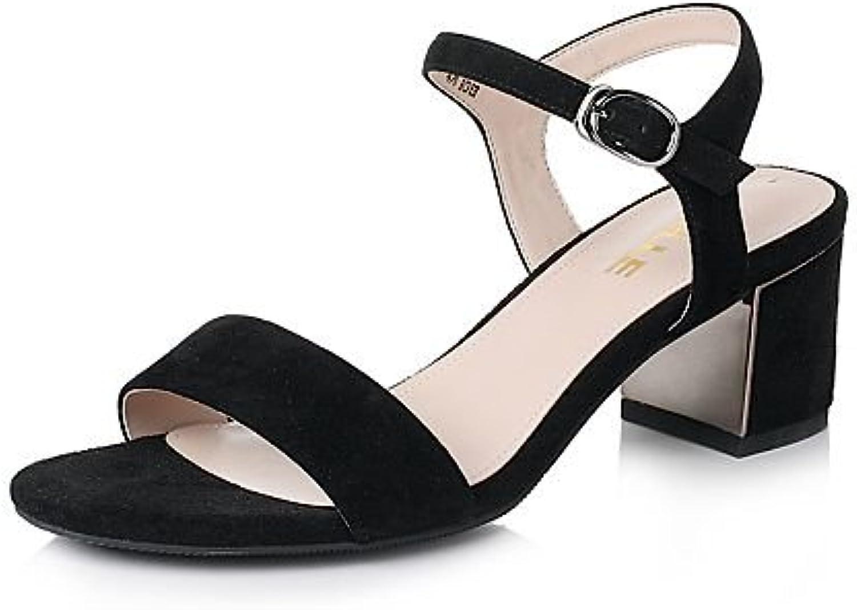 SHOESHAOGE Faltan Toe Verano Piel con Tacón Sandalias De Mujer Zapatos De Mujer Eu35 -
