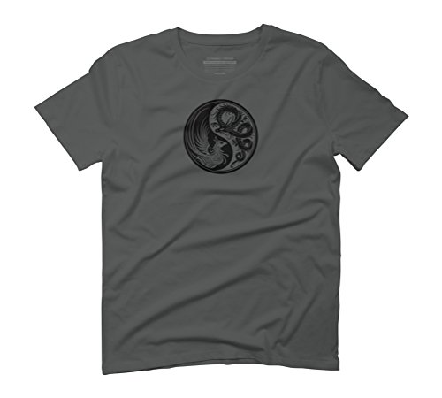Dragon Phoenix Yin Yang Men's Graphic T-Shirt - Design By Humans Anthracite