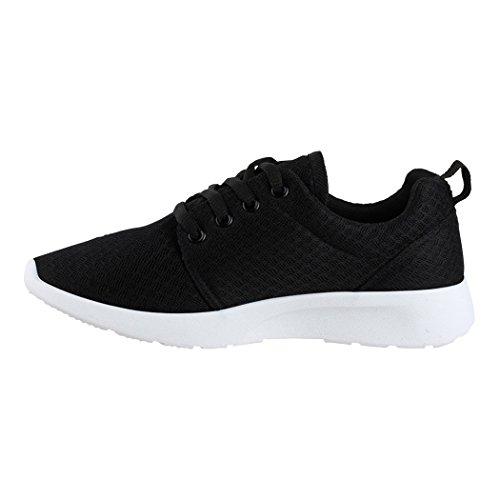 Elara Damen Herren Sneaker | Unisex Sport Laufschuhe | Fitness Runner | Turnschuhe | Chunkyrayan Schwarz Boston