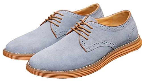 Anlarach Vêtements pour hommes occasionnels Swede Leather Brogue Oxford Chaussures Gris