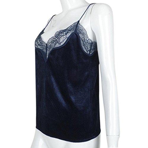 HCFKJ Femme Camisole, 2018 Style Femmes Débardeurs Bustier Bra Gilet Crop Bralette Chemise Blouse Cami sans Manches V-Neck Corset Tops Casual Été T-Shirt Bleu