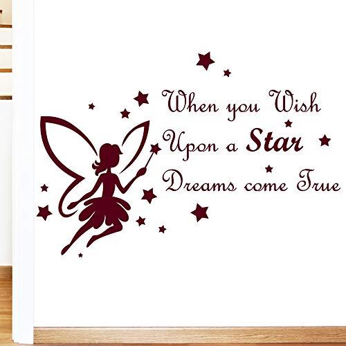 Fée Wish Upon A Star pour enfant MUR Citation Sticker Art – Art Stickers en vinyle, pour chambre d'enfant, Salle de Bain, Cuisine, Salon, facile à appliquer, sans applicateur, facile – enlever (Veuillez Choisir votre taille et couleur grâce à la sélection Boîtes) – par Rubybloom Designs, bordeaux, Medium 89cm x 60cm