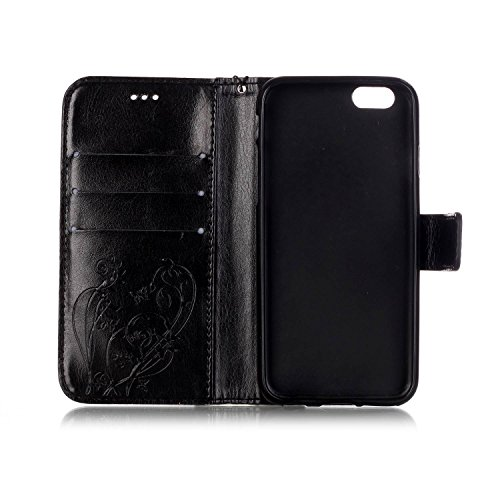 Cuir PU Coque pour Apple iPhone SE,iPhone 5/5S,Etsue Fine Folio Coque de Téléphone Mobile (Papillon Noir Motif) pour Apple iPhone SE,iPhone 5/5S,Porte-carte Support Fermeture Aimantée Portefeuille Poc Papillon Noir