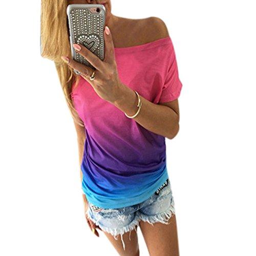 camisa de las mujeres, FEITONG Verano de las mujeres ocasionales del chaleco de manga corta blusa suelta tapas del tanque de la camiseta (S, Orange) (L, Blue)