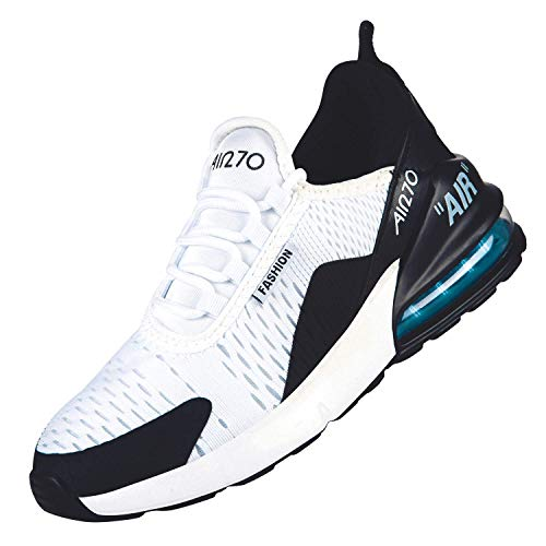 ROTOK Damen Turnschuhe Air Cushion Slip-on Lightweight Running Schuhe Gym Sport Outdoor Walking Atmungsaktiv Jogging Fitness Athletic Casual Schuhe, Weiß - Black/White-270 - Größe: 39 EU -