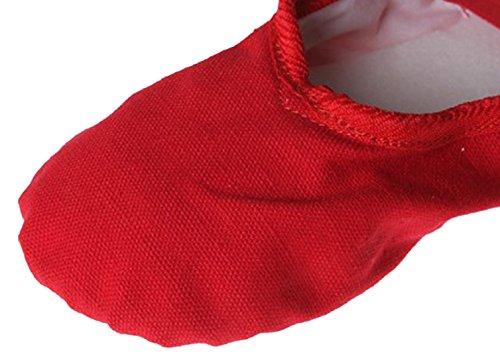 Feoya Mädchen Ballettschläppchen Ballettschuhe Tanzschuhe aus Canvas Größe 22-36 Rot