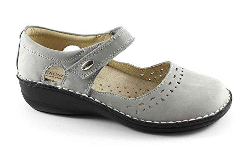 GRUNLAND INES SC3215 grigio scarpe donna comfort ballerine cinturino strappo Grigio