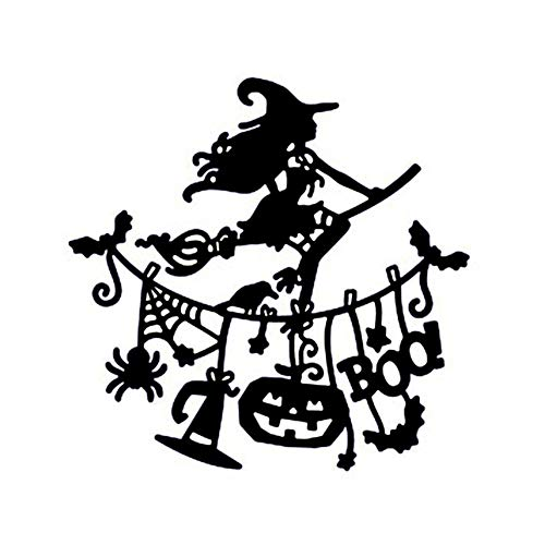 Nrpfell Kuerbis Hexe Flagge Metall Schneiden Form Halloween Ausschneiden Stahl Form Schneiden Kreative Stempel Praege Karten Form
