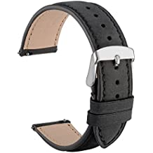 wocci liberación rápida correa de piel de ante negro reloj bandas marrón cinturón correas con hebilla de plata pines de metal