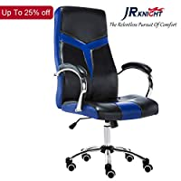 JR Knight LC-06BKBL Office Chair, Faux Leather Ergonomic Executive Chair Swivel Desk Chair with Chrome Base, Rocking N Height Adjustable (Black&Blue)