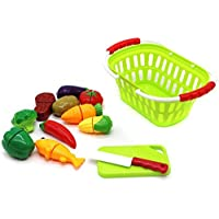 Little Treasures Vegetable Basket Play Set, Cut and Chop Series, 10 Pieces, 3 Years and Up