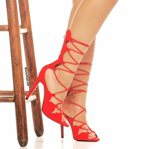 High Toe Sandali con tacco in pelle scamosciata della traversa di modo Sandali con tacco Heels gules