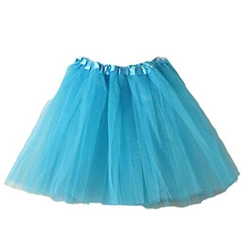 HUIHUI Damen Tütü Rock Minirock Organza Pettiskirt 3 Layers Petticoat Tanzkleid dehnbaren informell Mini Skater Rock Ballettrock mit Sternchen Perfekt für Fasching (Himmelblau)