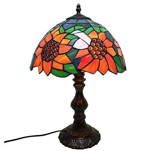 Tiffany Stil Tischlampe Idyllische Sonne Blume Glasmalerei Europäischen Stil Tischlampe In Höhe 18 Zoll Für Wohnzimmer Wohnzimmer Studie Schlafzimmer (Blumen-sonne-kleid)