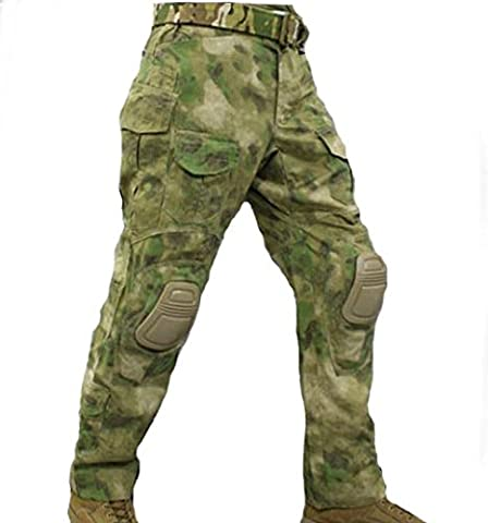 H World EU EMERSON Tactical Airsoft Paintball Army Military Shooting BDU Men Gen3 G3 Combat Pants Trousers with Knee Pads (AT-FG, XXL)