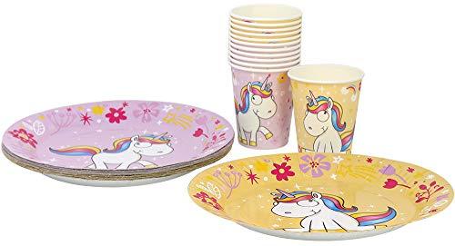 COM-FOUR® Set di stoviglie per Feste 28 Pezzi Unicorno con Motivi di Unicorno per 12 Persone Composto da Piatto di Carta e Bicchiere di Carta (28 Pezzi Giallo/Rosa)