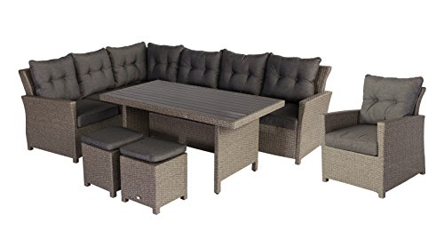 Hohe Dinning Poly Rattan Lounge 'Havanna XL links', inklusive Sessel und zwei Hocker, Mandalika...