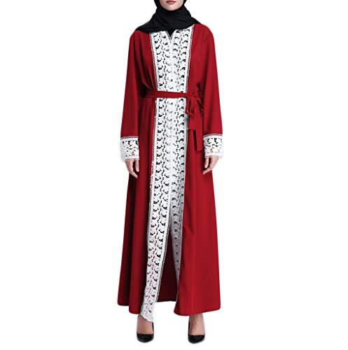 i-uend 2019 Damen islamisch Splicing Kleider Große Größe Druck Spleißen Baumwolle Leinen Langarm Lose Langes Osten-Lange Robe spleißt ()