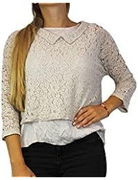 SAXX Damen Shirt Top Onesize Natur Beige Damenmode Shirt Top Spitze #O132