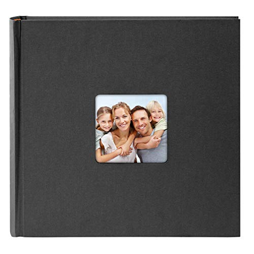 Goldbuch Fotoalbum mit Bildausschnitt, Living, 30x30 cm, 100 weiße Seiten mit Pergamin-Trennblättern, Hochwertiger Einband aus Strukturpapier in Leinenoptik, Schwarz, 31 093