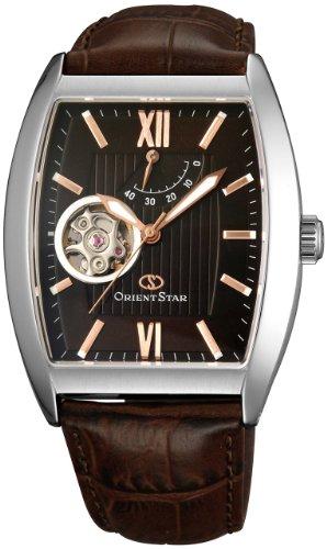 Orient STAR automático semi-esqueleto entorchado en tonel WZ0131DA reloj para hombre