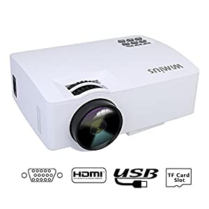 Mini Projecteur HD,Videoprojecteur LED Projecteur Video Portable 1500 Lumens 1080P Projector LCD 800*480 Home Cinema Compatible avec iPhone PC Smartphone iPad TV Jeux de Vidéo Xbox (Blanc)