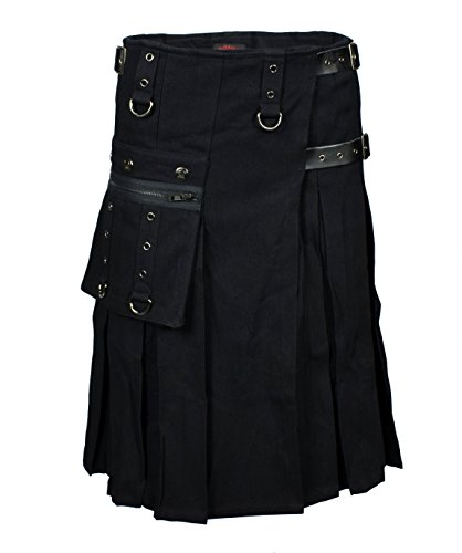 LUCYFIRE fashion Worker Kilt Schwarz - L