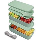 Guenx Bento-Box, Lunchbox/Kinder Lunchbox Brotdose mit 2 Unterteilungen – Gefertigt aus Weizen, Biologisch abbaubar, plastikfrei, BPA frei, Auslaufsicher