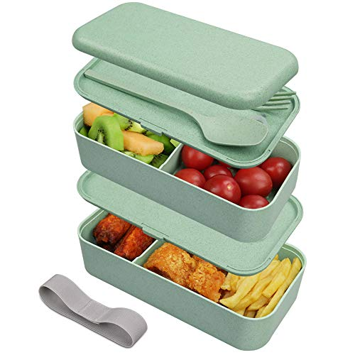 Guenx Bento-Box, Lunchbox, Innovative Food Aufbewahrungsbox, Lunchbox Kinder mit Fächern ohne Plastik – Gefertigt aus Weizen, Biologisch abbaubar, plastikfrei, BPA frei, Auslaufsicher