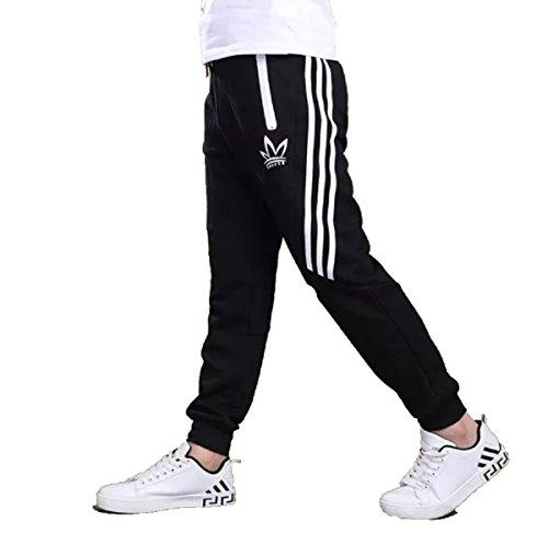 C & style uk, pantaloni sportivi per bambini e ragazzi, pantaloni di tuta sportiva da corsa, per la scuola, in cotone e poliestere, età 7–16 anni nero  160 cm(12-13 anni)