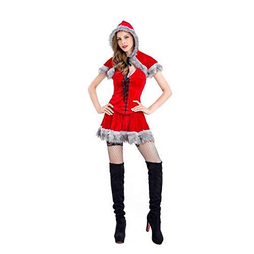 seasaleshop Weihnachtsmann Weihnachtskostüm Damen Weihnachtsfrau Kostüm Cosplay Outfit-Abendkleid-Reizvolles -