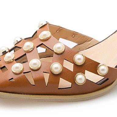 LvYuan Da donna Sandali Comoda PU (Poliuretano) Estate Casual Footing Comoda Perle Fibbia Quadrato Beige Marrone chiaro 2,5 - 4,5 cm beige