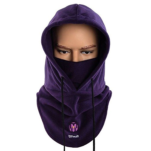 UPmall Multipurpose Use Thermal Fleece Hooded Balaclava Warm Ski Bike Wind Stopper Full Face Mask Neck Warmer for Winter Outdoor Activities (Purple)