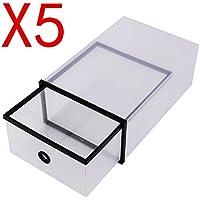 Paquete con 5 Unidades de Cajas de Zapatos Transparente Plegable, Cajas para Almacenamiento de Zapatos Transparente y de Doble Plástico, Color Negro 29 cm x 20 cm x 12 cm