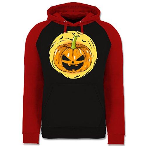 Shirtracer Halloween - Halloween Kürbis Gesicht - M - Schwarz/Rot - JH009 - Baseball Hoodie