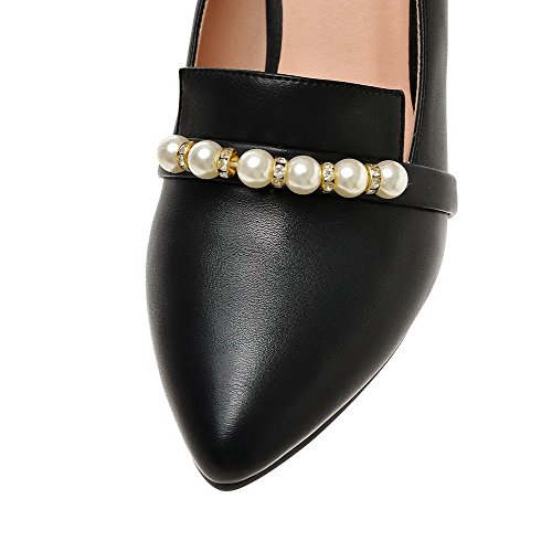 VogueZone009 Femme Tire Pu Cuir Pointu à Talon Haut Mosaïque Chaussures Légeres Noir