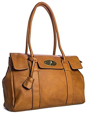 Big Handbag Shop Womens Faux Leather Designer Boutique Shoulder Bag (Light Tan)