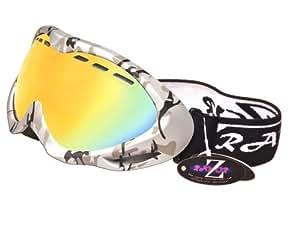 Rayzor professionnels UV400 doubles lensed ski / snowboard Lunettes, avec un camouflage d'argent cadre et un brouillard Anti couché, ventilé Or Iridium miroir anti-éblouissement large clarté de vision Objectif
