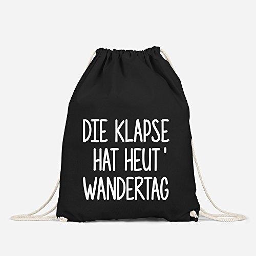 Turnbeutel, Die Klapse hat heute Wandertag, Sportbeutel Gymbag aus reiner Baumwolle Moonworks® schwarz unisize