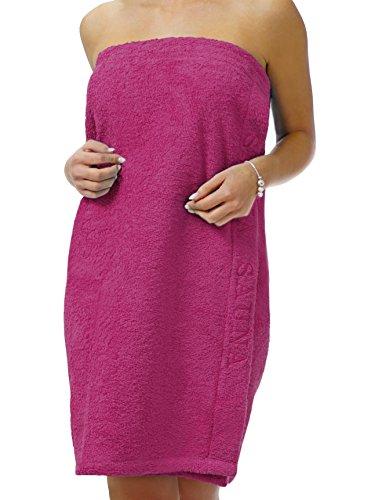 Lashuma Saunakilt Dame pink - lila, das Saunatuch aus schlingenfesten Frottee, Sauna Sarong mit Klettverschluss und Gummizug