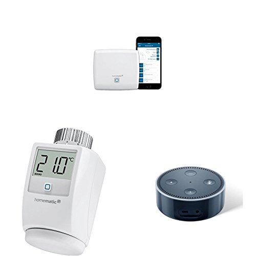 Homematic IP Access Point (140887A0) plus 3x Homematic IP Heizkörperthermostat (140280) plus Amazon Echo Dot (2. Generation), Schwarz