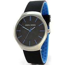 Adora Design C2549BU Edelstahl Armbanduhr Schwarz Blau Silikonband