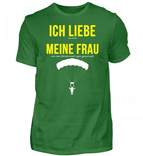 Hochwertiges Herren Shirt - Ich liebe meine Frau Spruch Fallschirmspringen - Falschirmspringer Spruch TShirt (Bungee Liebe)