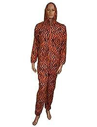 Ladies Animal Print Soft Fleece Hooded Onesie / Pyjamas / Sleepsuit ~ UK 8 - 22