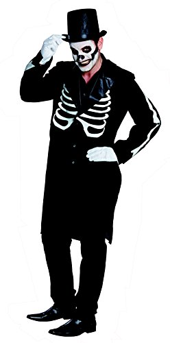 Gr. 54 Frack Mantel Skelett Knochen Kostüm Anzug Umhang Halloween Herren Herrenkostüm Horror 14833 day of the dead