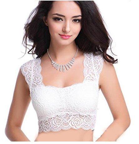 Pretty Girls\' Women\'s Net Bustier Saree Blouse (Mc1212L_White_Free Size)