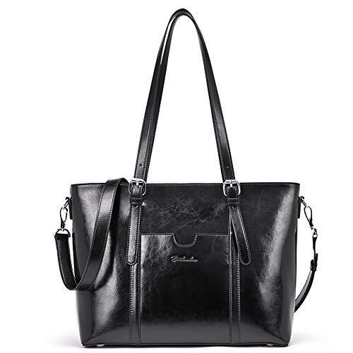 BOSTANTEN Damen Ledertaschen Schultertasche Frauen Designer Handtasche 14 15.6 Zoll Laptoptasche Tote Bag Schwarz -
