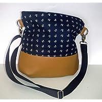 Schultertasche Beuteltasche Anker Umhängetasche Reissverschlusstasche maritim Baumwolle dunkelblau Schultergurt variabel causal Handmade