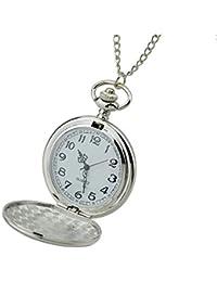 Feelontop® Random Classic Elegante orologio da taschino conciso Collana a pendente con pendente rotondo a catena tono su tono argento