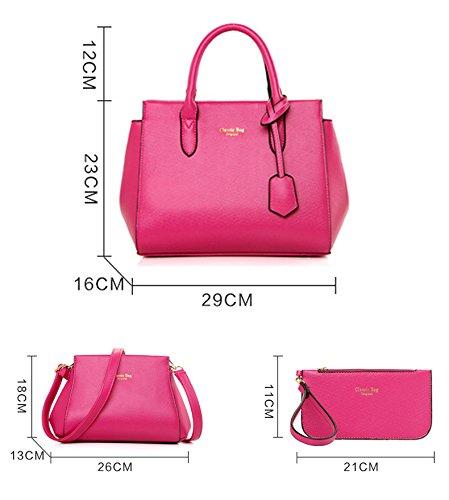 Sunas La nuova borsa di modo delle donne retrò 3 insiemi del raccoglitore del sacchetto di spalla del sacchetto femminile del sacchetto vino rosso